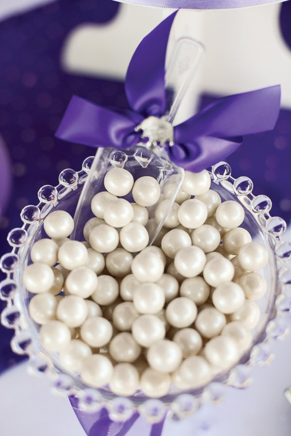 Purple & white party candies