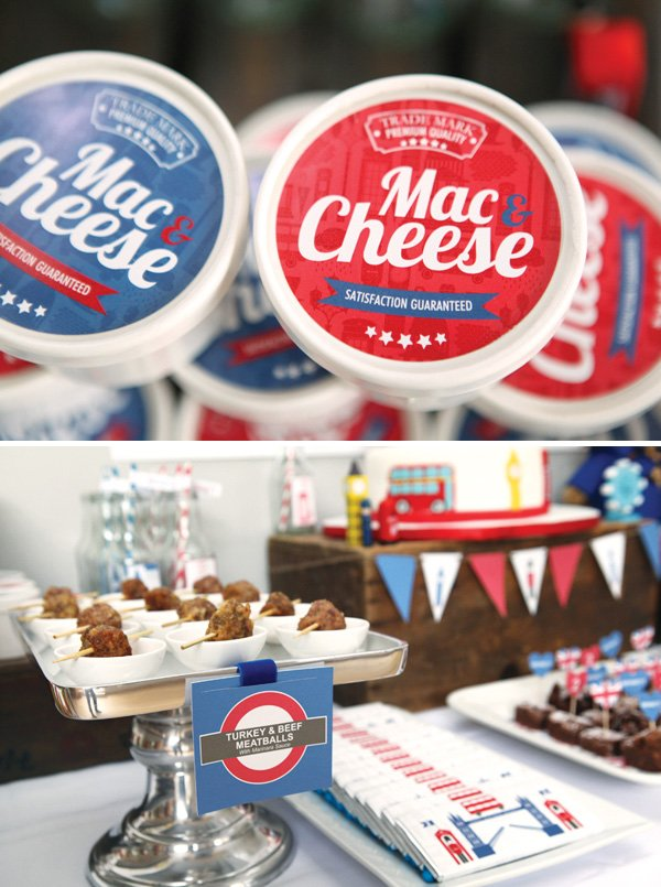 Mac and Cheese cups with red and blue labels