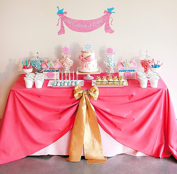 Pink Cinderella dessert table