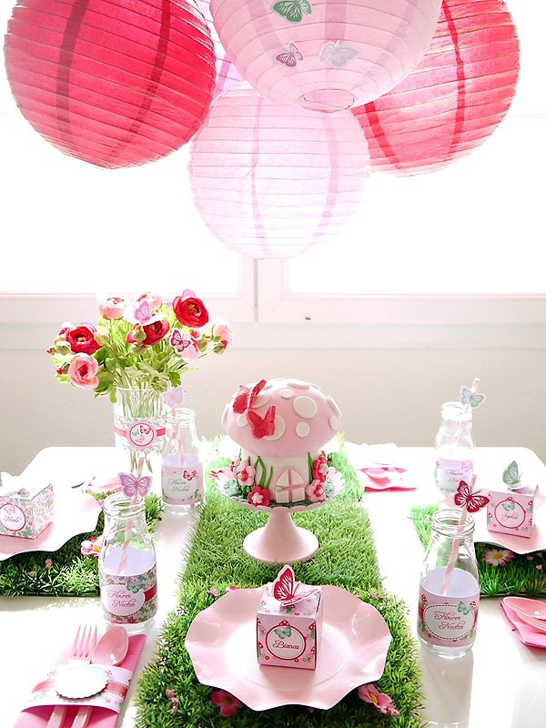 Pink Fairy Party with Pink Paper Lantern Chandelier