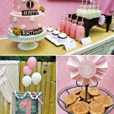 pink milk and cookies party