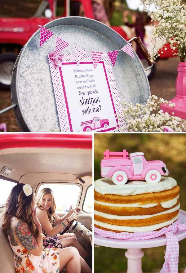 pink truck bridesmaid party
