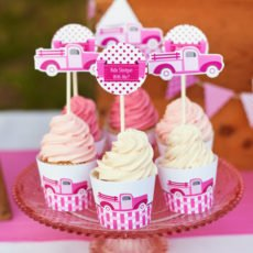 pink truck cupcakes