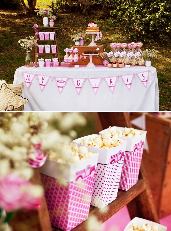 pink party dessert table