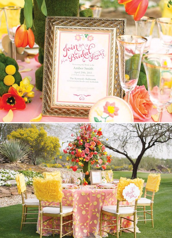 pink and yellow bridal shower