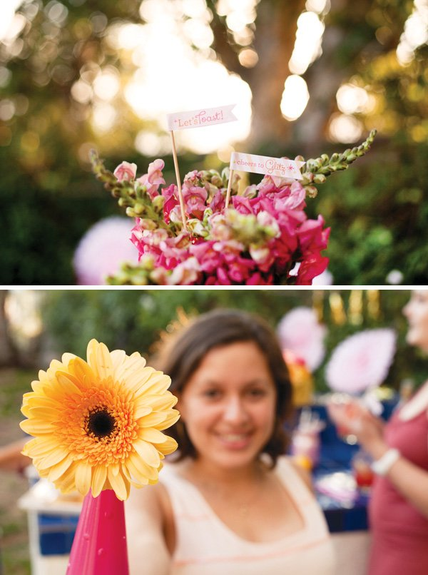 pink and yellow outdoor party decorations