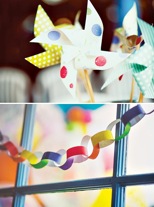 Paper chain & Pinwheel Party Decorations