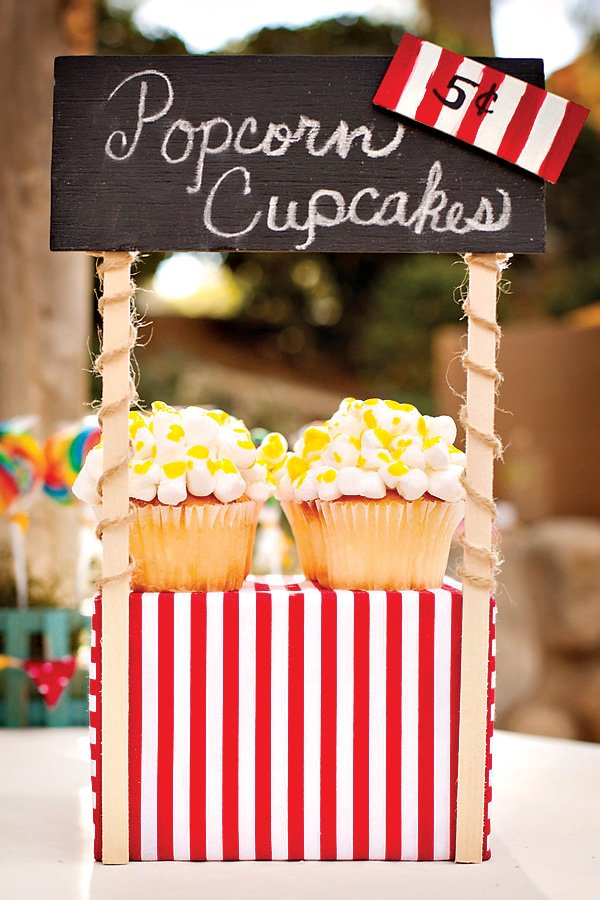 popcorn cupcakes on a mini popcorn booth
