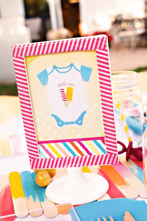 baby shower party sign with onesie and popsicles
