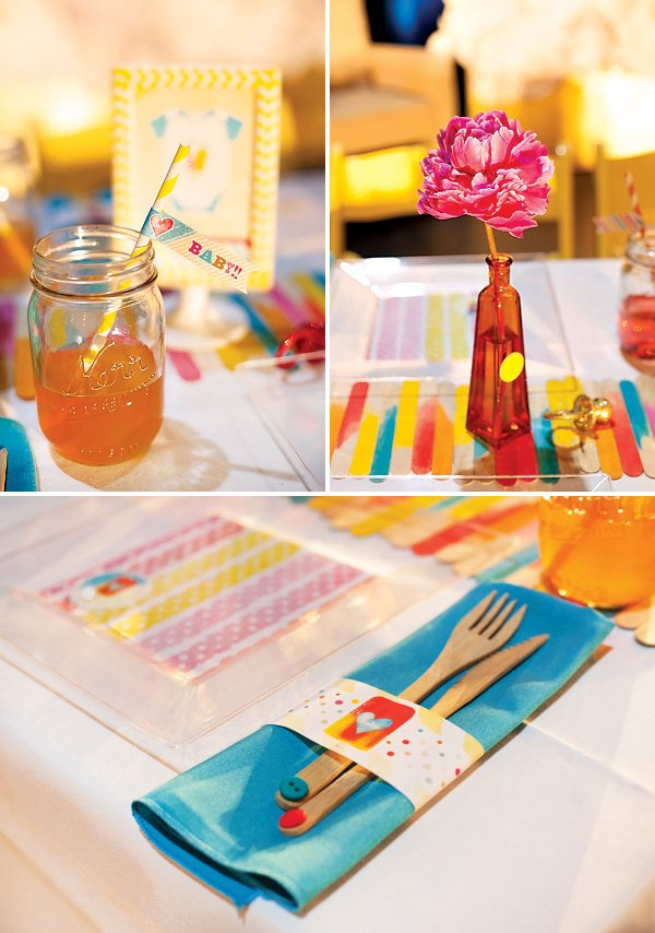 popsicle stick table runner for a popsicle themed baby shower