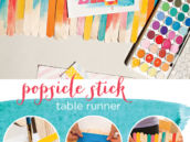 DIY watercolor popsicle stick table runner tutorial