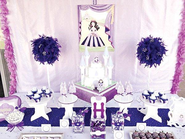 Purple princess dessert table