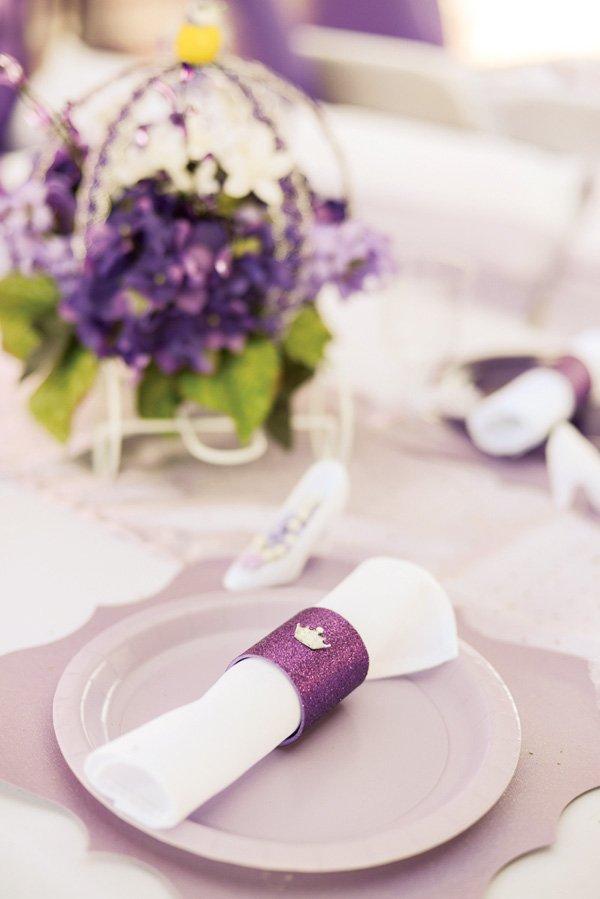 Glittery princess napkin rings