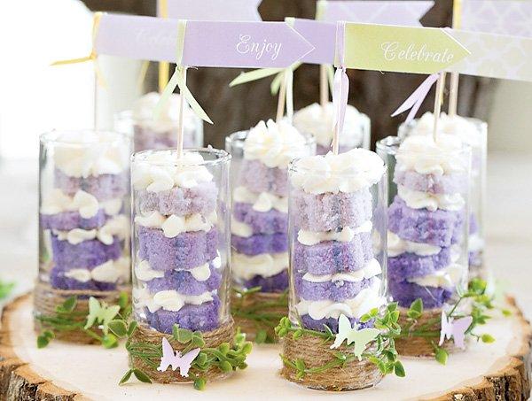 mini purple ombre layer cakes