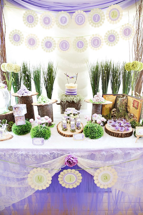 pretty purple woodland dessert table