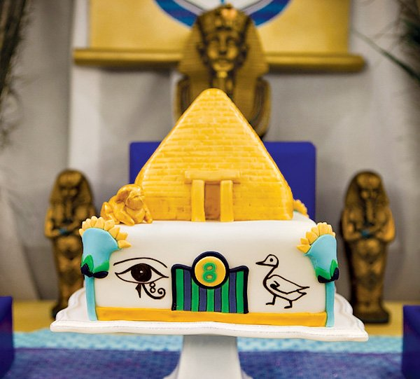 Pyramid Cake with hieroglyphics and flowers