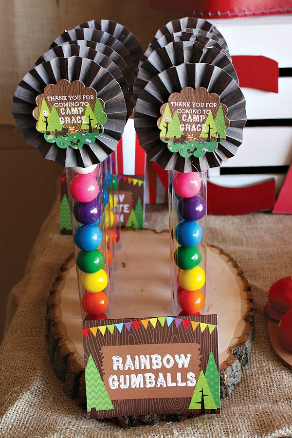 Rainbow gumball party favors