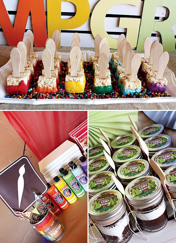 Rainbow camp rice crispy paint brushes