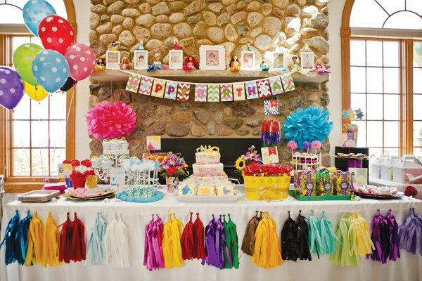 rainbow princess dessert table