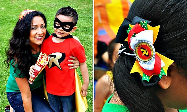 Robin themed hair clips