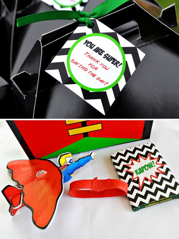 Superhero favor tags