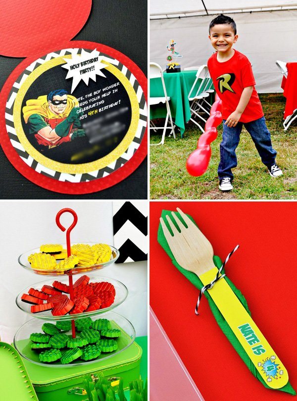 robin the boy wonder themed birthday party