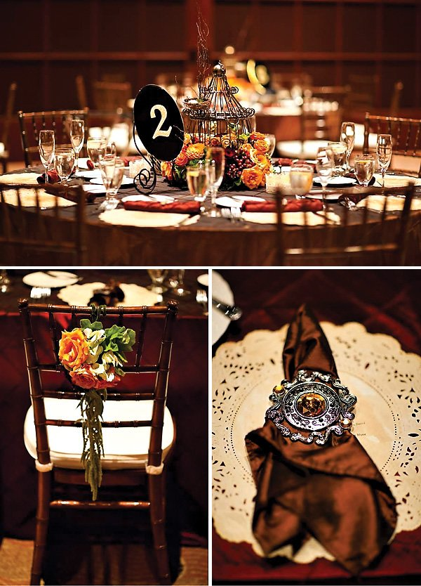 Brown and Orange Wedding Tablescape