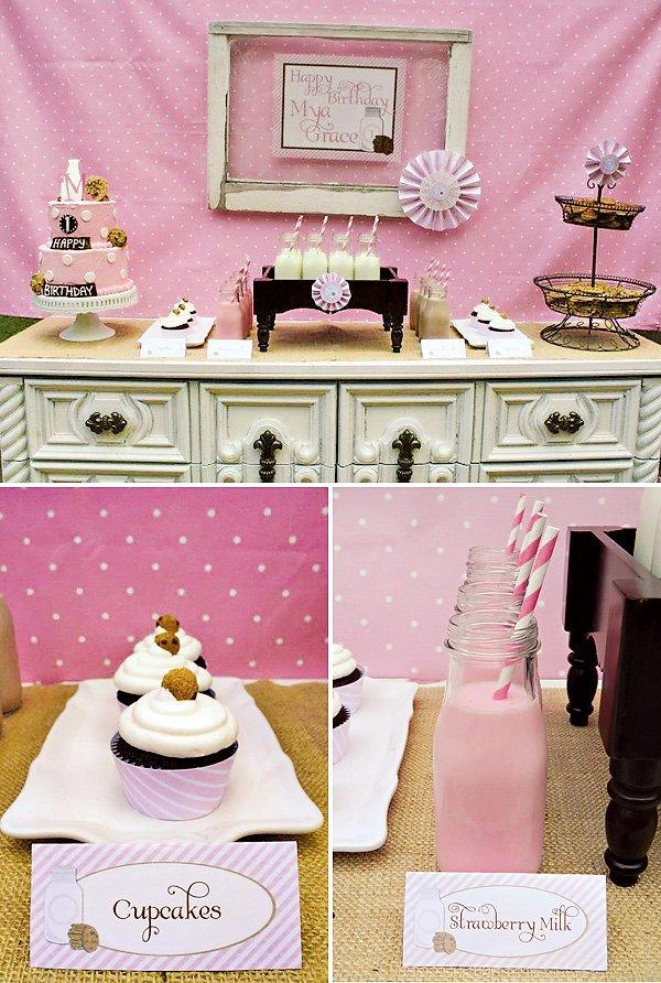 rustic milk and cookies dessert table