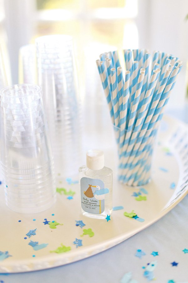 Stork baby shower party favors