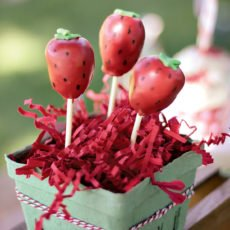 Strawberry Cake Pops in Berry Container