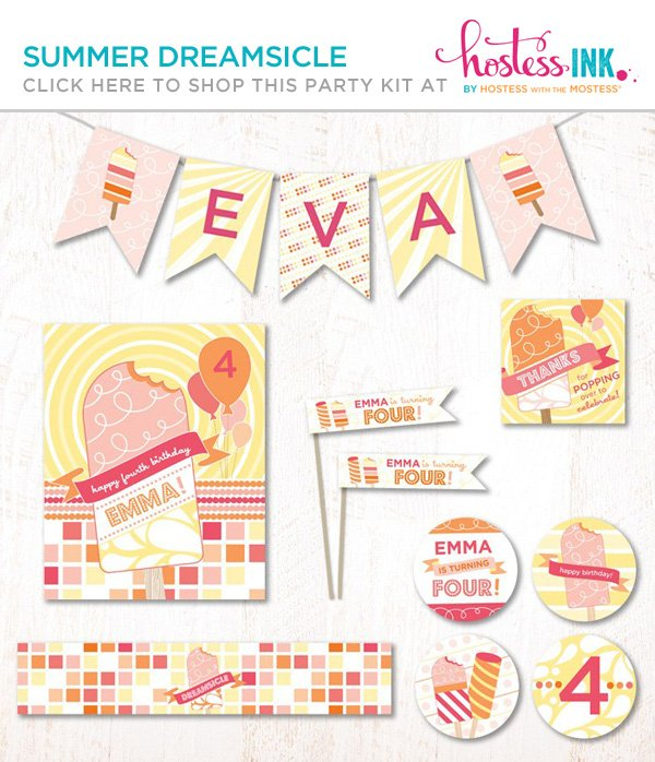 summer popsicle or dreamsicle party collection on hostess ink
