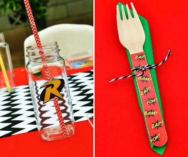 superhero themed wooden utensils