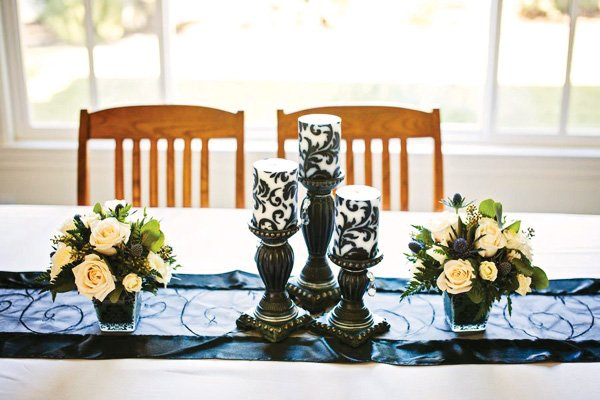 table with candles for a house warming party