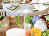 vintage table setting with vintage tea cups