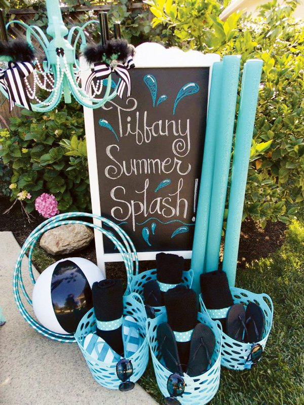 tiffany summer splash pool party towels and flip flops