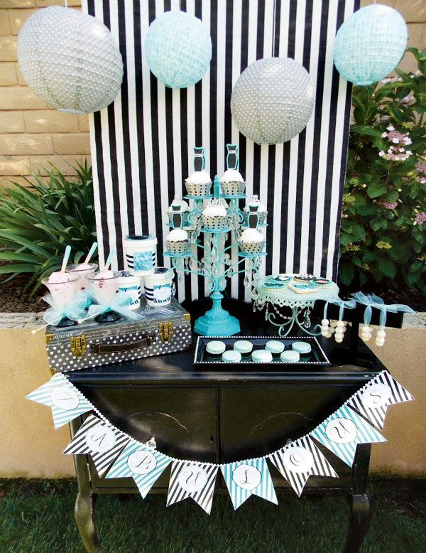 tiffany theme dessert table