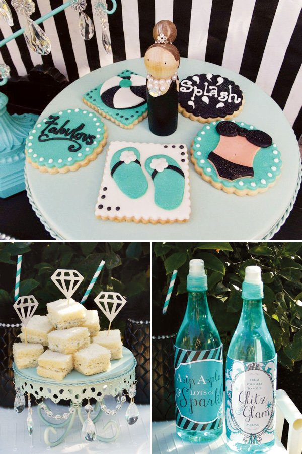 glam tiffany theme pool party