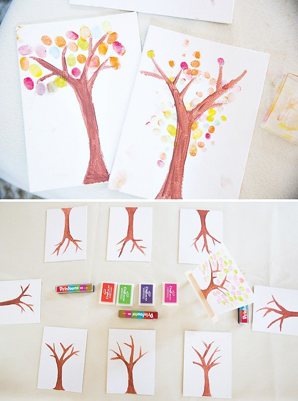 tree painting thumb print activity