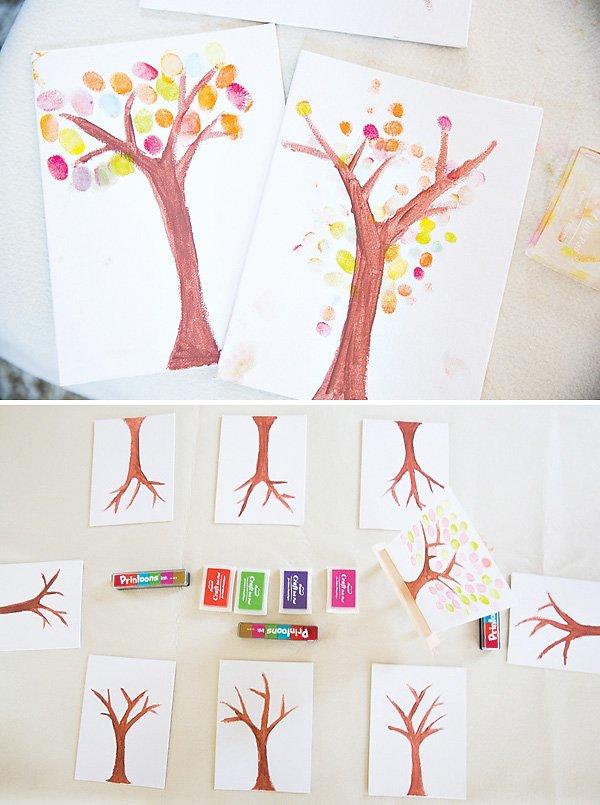 tree painting thumb print activity