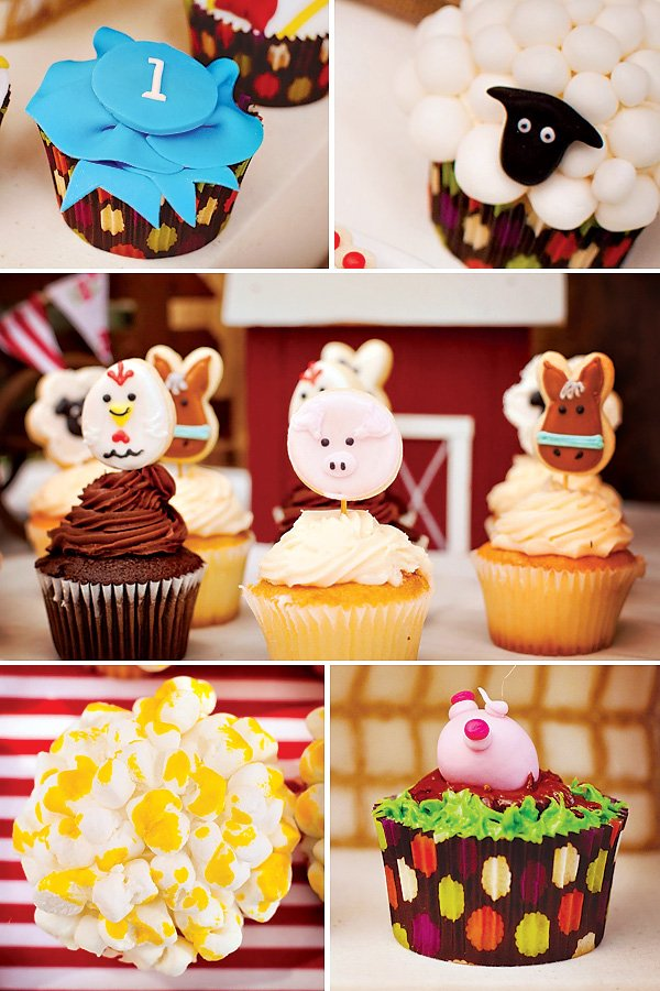 cute farm animal cupcake toppers