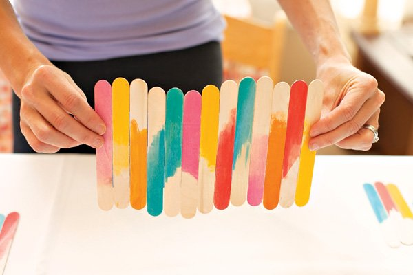 straight shot of painted popsicle stick runner section