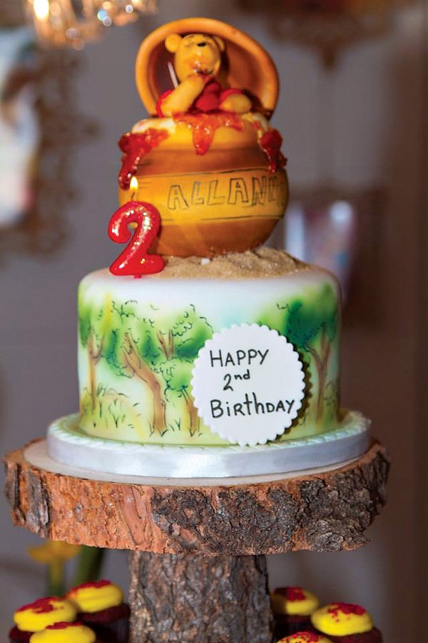 Winnie the Pooh Birthday cake with Pooh Bear in a Honey Pot Topper