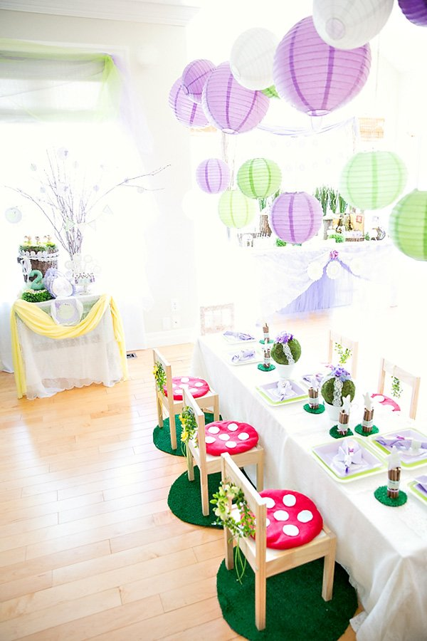 purple and green woodland party