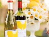 Yellow & White Daisy Wine Labels