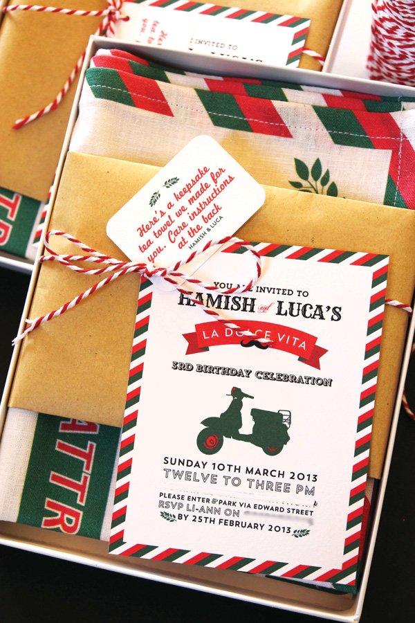 Italian themed third birthday party invitation