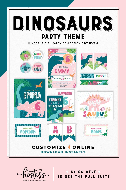 Dinosaur Girl Birthday Printables