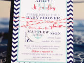 Nautical and Chevron Baby Shower Invitation