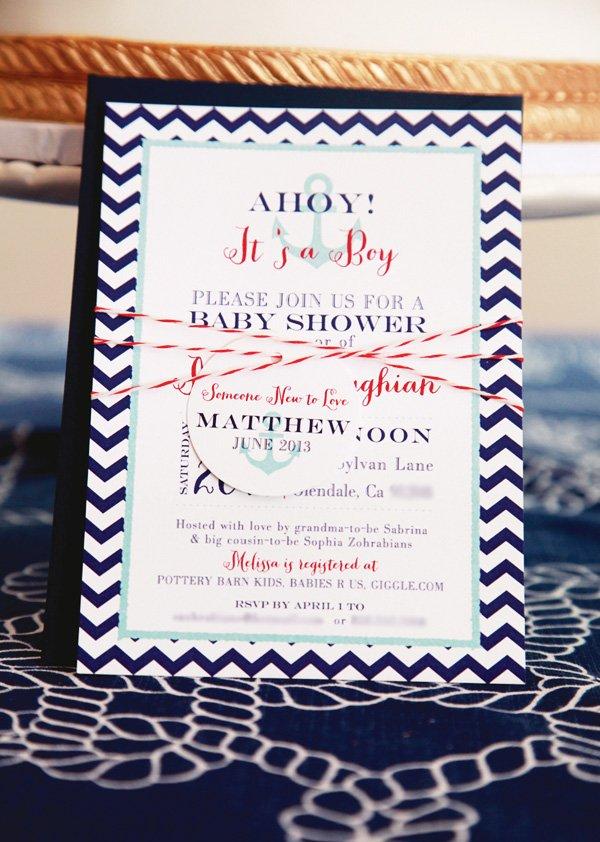 Nautical and Chevron Baby Shower Invitation
