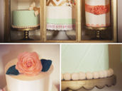 Amazing coral, mint, and gold cakes