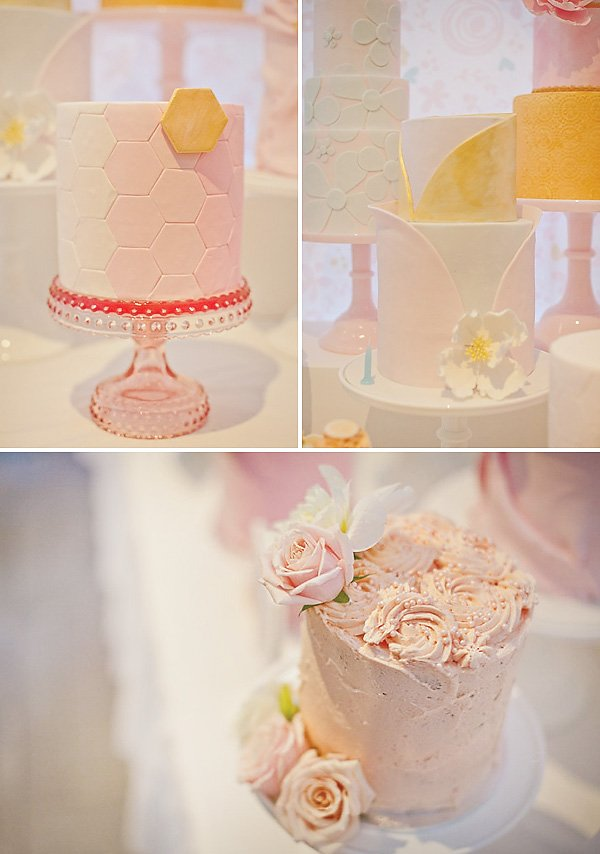 Beautiful pink and yellow pastel birthday cakes